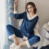 日繫睡衣女性感兩件套裝家居服性感長袖加絨【聚寶屋】
