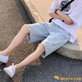 破洞牛仔褲短褲男夏季薄款外穿五分褲2021年新款潮牌ins高街褲子【勇敢者】