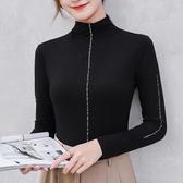 新款莫代爾半高領打底衫女長袖洋氣大碼內搭T恤薄款上衣 - 歐美韓熱銷