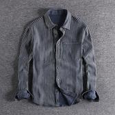 長袖襯衫 個性兩面穿水洗做舊歐美風青年襯衣時尚男士修身牛仔襯衫長袖