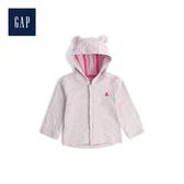 Gap嬰兒 小熊圖案拼貼長袖連帽休閒上衣494289-燕麥灰黃