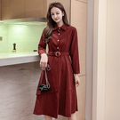 VK精品服飾 韓系桔梗復古氣質顯瘦加厚絨面配腰帶長袖洋裝