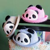 熊貓親子兔毛帽子漁夫帽母女帽母子帽盤盤帽禮品兒童 道禾生活館