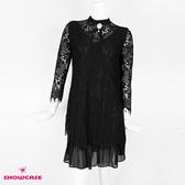 【SHOWCASE】唯美蕾絲假二件雪紡下襬長袖修身短洋裝(黑)