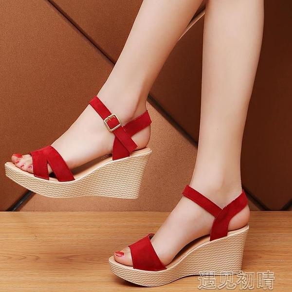 楔型鞋夏季新款高跟楔型一字扣韓版女涼鞋防水台羅馬鞋性感女鞋子潮紓困振興