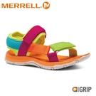 【MERRELL 美國 童 KAHUNA WEB 健行涼鞋《炫彩/亮橘》】MLK164949/休閒涼鞋/兒童涼鞋