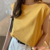 無袖T恤網紅黃色背心無袖t恤女純棉寬鬆外穿內搭原宿風心機設計感上衣夏 愛丫