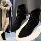 靴子.韓系必備絨面尖頭繫帶短靴.白鳥麗子