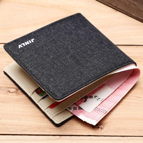 男士錢包短款超薄牛仔帆布學生韓版個性錢夾 青少年拉鏈小皮夾