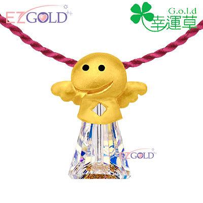 幸運草金飾 ♣富貴蛇♣十二生肖黃金水晶墜