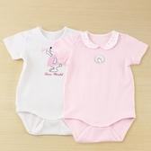 【愛的世界】純棉小兔蜻蜓短袖包屁衣2件組/3個月~1歲-台灣製- ★幼服推薦