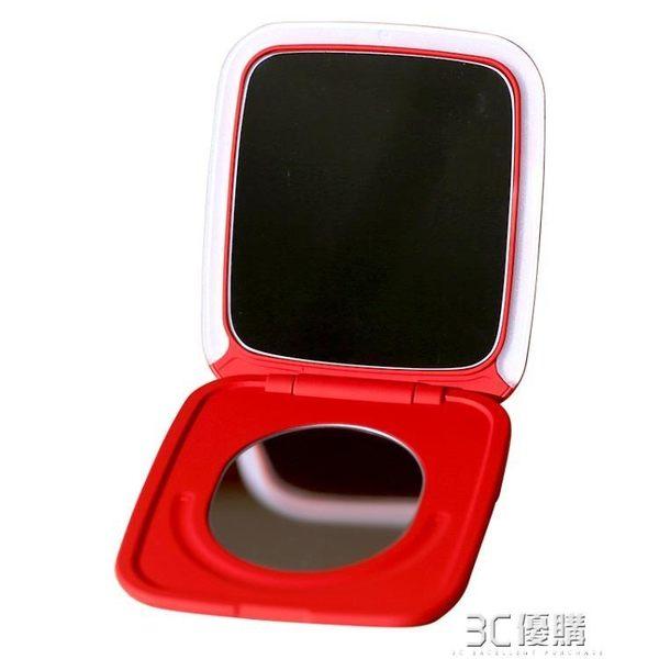 化妝鏡 在水一方觸摸調光led帶燈化妝鏡補光鏡摺疊便攜隨身女小梳妝鏡 3C優購