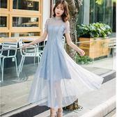 水藍水粉大裙擺宴會約會連身裙洋裝 [98791-QF] 美之札