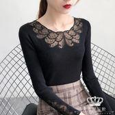 針織衫 蕾絲上衣圓領鏤空女長袖秋季薄毛衣