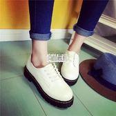 新款馬丁靴英倫風女鞋圓頭低筒皮鞋復古學院風牛津鞋學生 萬聖節