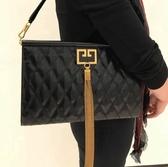 ■專櫃52折 ■2019新品■ Givenchy BB505鑽石菱格紋 大款 GEM 山羊皮復古流蘇包