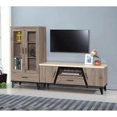 【森可家居】麥町古橡木6尺L櫃 8SB194-1 展示 電視櫃 高低櫃