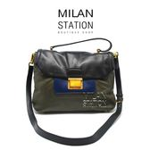 【台中米蘭站】MIUMIU 三色拼接扣式手提兩用包