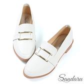 紳士鞋 金屬方釦微尖頭休閒鞋-白