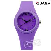JAGA 捷卡 / AQ911-J / 時尚螢光系列運動橡膠腕錶 紫色 34mm