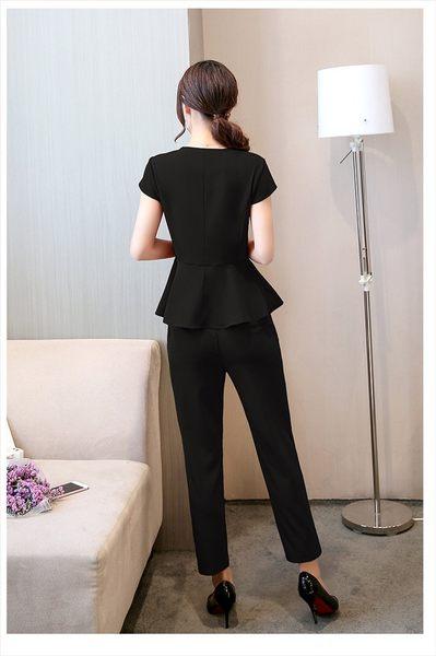 名媛氣質修身短袖上衣長褲兩件套 職業套裝