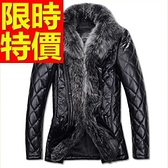 真皮羽絨外套-與眾不同防寒韓版羊皮男皮衣夾克62w91【巴黎精品】