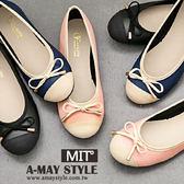 現貨-娃娃鞋-MIT氣質拼接蝴蝶結圓頭平底包鞋