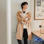 氣質風衣外套大衣外套韓版男士休閒中長款鹿皮絨拼接風衣【英賽德3C數碼館】