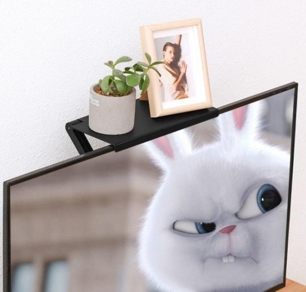 電腦螢幕置物架 最新加大升級UP電視螢幕上方公仔擺飾盆栽收納創意支架