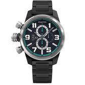 elegantsis精密狙擊風格三環不鏽鋼錶男款/黑綠x銀框