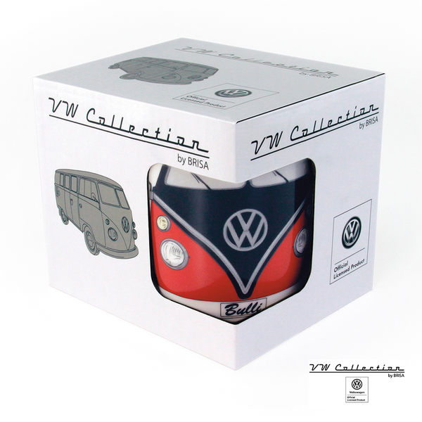VW Brisa老福斯-T1 Bus 馬克杯-紅/黑