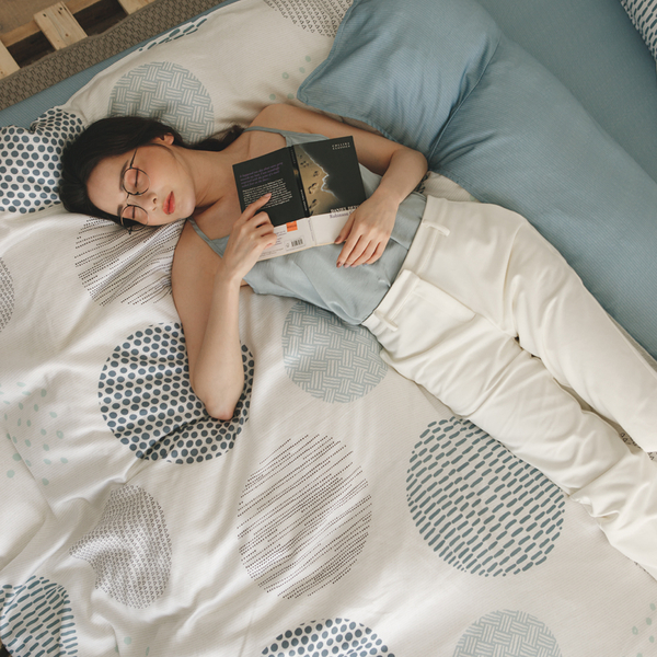 天絲 床包被套組(舖棉被套) 雙人【小步舞曲】 涼感 親膚 100%tencel 萊賽爾纖維 翔仔居家