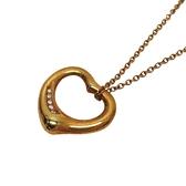 Tiffany & Co 蒂芬妮 Elsa Peretti Open Heart系列18K金鑲鑽鏤空愛心造型項鍊 K18YG