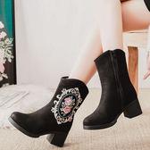 棉靴民族風女短靴粗跟厚底繡花鞋子時尚休閒布靴子
