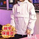 外套-M-L韓版街頭純色套頭拉鍊加厚工裝寬鬆連帽外套Kiwi Shop奇異果1108【SZZ0181】