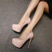 14CM超高跟鞋細跟單鞋歐美漆皮防水臺性感夜店圓頭職業女鞋