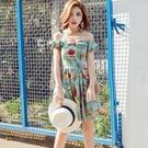 洋裝-露肩夏季一字領印花蓬蓬女連身裙2色73pu61【巴黎精品】