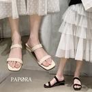 PAPORA時尚大方粗跟涼鞋拖鞋KK1117米色/黑色