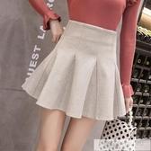 短裙 毛呢短裙春秋女2020高腰A字蓬蓬裙百褶半身裙黑色防走光小擺裙潮-完美