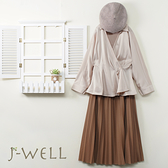 J-WELL 修身V領開襟上衣長裙兩件組(組合A640 9J1068杏+9J1078卡)