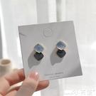 耳環S925銀針韓國氣質簡約拼接撞色耳釘甜美少女百搭個性耳環耳夾 小天使