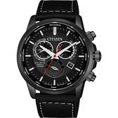 CITIZEN 星辰 光動能萬年曆手錶-黑/42mm BL8155-15E