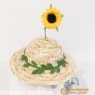 可愛貓咪狗狗小型犬草帽IG風拍照用品布偶飾品夏季遮陽花朵寵物帽子【小獅子】