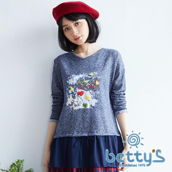 betty's貝蒂思 拼接雪紡假兩件式針織衫(藍色)