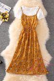 波西米亞印花吊帶長裙女度假裙兩件套雪紡連身裙 洋裝海邊沙灘裙夏 中元節禮物