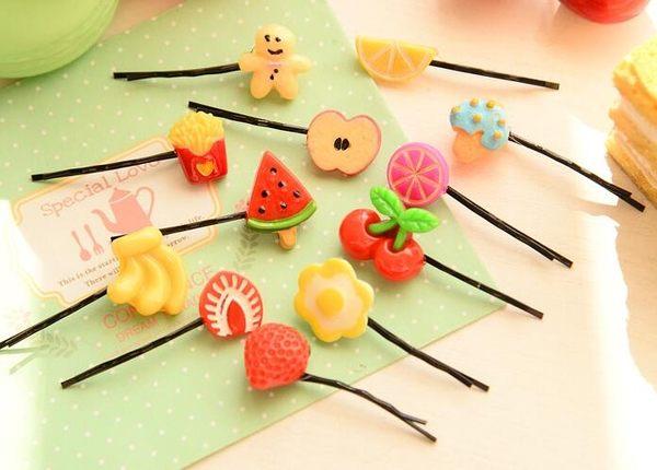 【TT105】可愛發飾櫻桃一字夾日韓版原宿發卡草莓發夾邊夾水果檸檬飾品