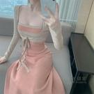 【限時促銷】一字領洋裝 針織吊帶洋裝抹胸性感大擺中長裙女春季2021年新款氣質修身裙子