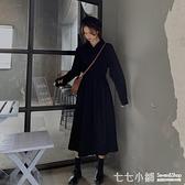連身裙~長款裙子復古長袖襯衫裙秋季氣質裙子黑色洋裝女中長款秋冬長裙