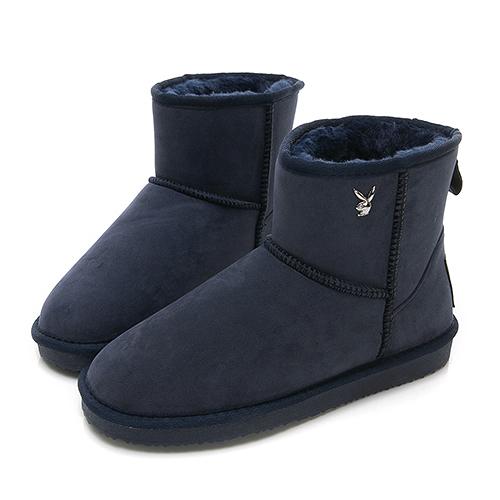 PLAYBOY 陽光雪戀 皇冠織標短筒雪靴-藍(Y3833)