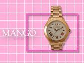【時間道】MANGO經典時尚羅馬刻度腕錶 / 粉貝面玫瑰金鋼帶 (MA6719L-81R)免運費
